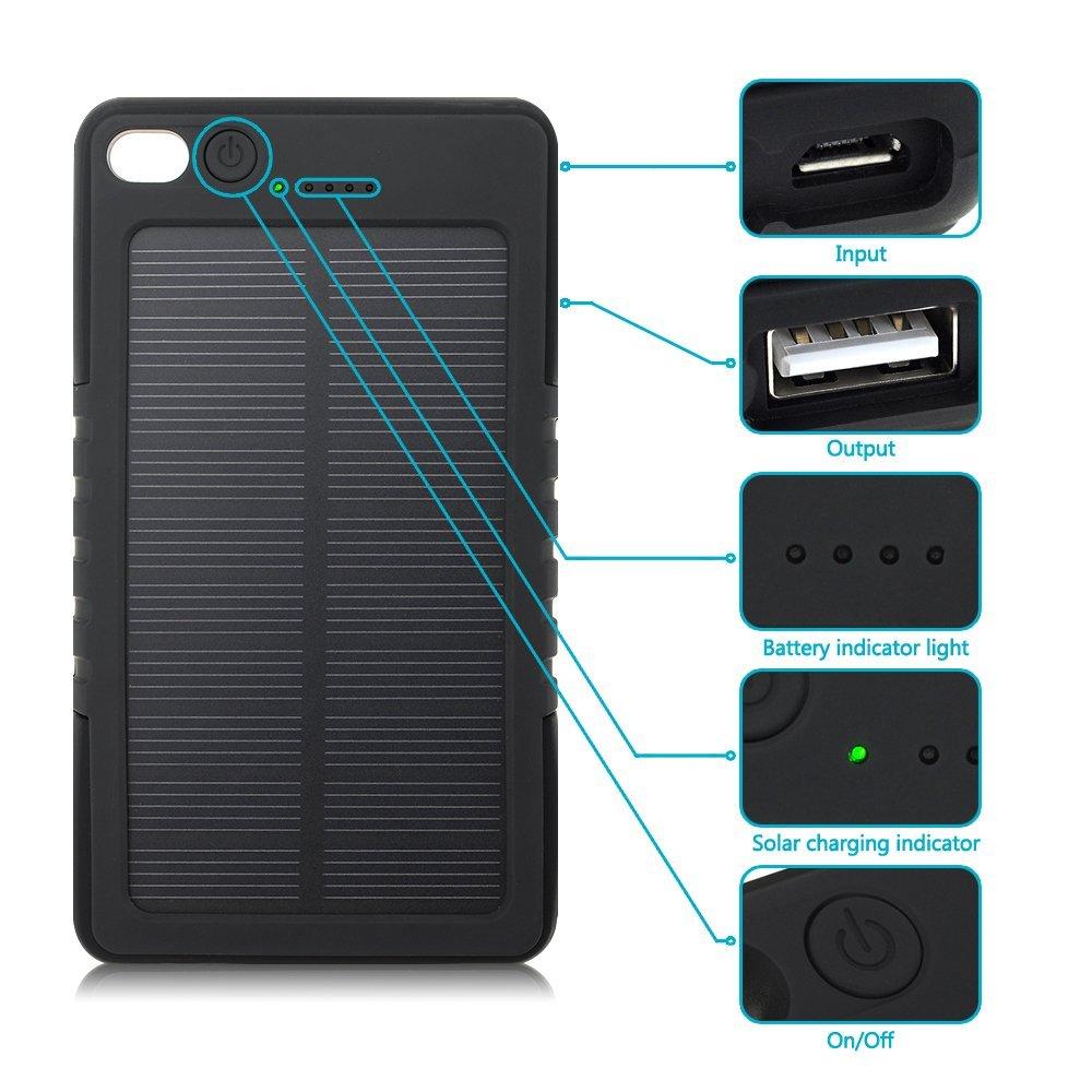 cargador solar para celular negro resistente