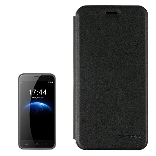 2-in-1-Cloth-Texture-Horizontal-Flip-Leather-Case-with-Holder-Magnetic-Buckle-Tempered-Glass-Screen-Film-for-HOMTOM-HT3-Black-0