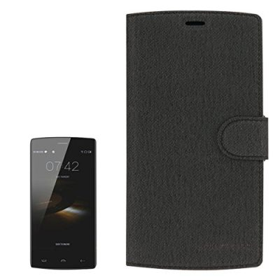 2-in-1-Cloth-Texture-Horizontal-Flip-Leather-Case-with-Holder-Magnetic-Buckle-Tempered-Glass-Screen-Film-for-HOMTOM-HT7-HT7-Pro-Black-0
