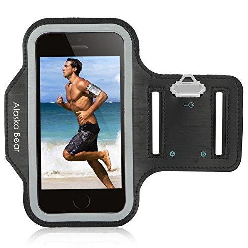 Alaska-Bear-Running-Armband-with-Hidden-Key-Holder-Fit-for-iPhone-66S-47-Samsung-Galaxy-S4S5S6-Lifetime-Warranty-Screen-Protector-Waterproof-Black-0