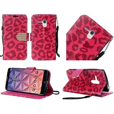 Alcatel-One-Touch-Fierce-XL-Metro-PCS-T-Mobile-Luckiefind-Premium-PU-Leather-Flip-Wallet-Credit-Card-Cover-Case-Stylus-Pen-Screen-Wiper-Accessories-0
