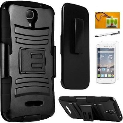 Kyocera-Hydro-Air-C6745-ATT-Luckiefind-Hybrid-Armor-Stand-Case-with-Holster-and-Locking-Belt-Clip-Screen-Protector-Screen-Wiper-Accessories-0