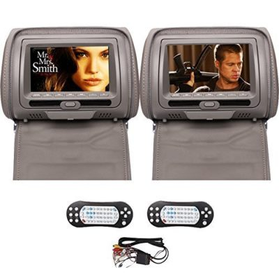 Ouku-2PCS-Pair-of-Headrest-7-LCD-Car-Pillow-Monitor-DVD-player-Dual-Twin-Screens-USB-SD-IR-FM-Transmitter-32-Bit-Games-Zipper-Cover-Gray-Grey-Color-0
