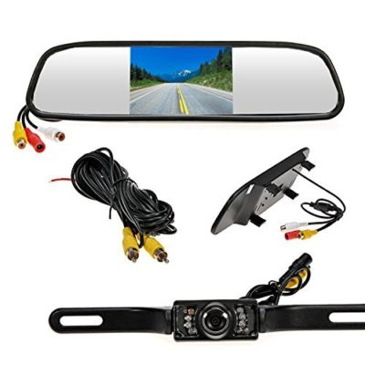 Ouku-43-inch-Waterproof-Backup-Camera-Rear-view-Monitor-Reversing-Parking-Mirror-Reverse-System-LED-Night-Vision-Cam-Distance-Scale-Lines-Reverse-120Swivel-Angle-Adjustable-0