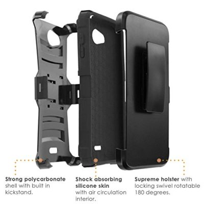 SlickCandy-BlackBlack-Armor-Case-Holster-Kick-Stand-Heavy-Duty-Defender-Phone-Case-D-for-Kyocera-Hydro-Wave-Hydro-Air-0