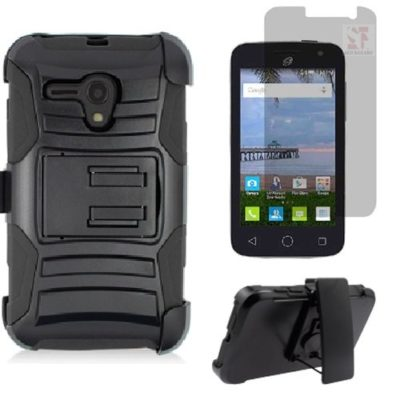 SlickGearsTM-Heavy-Duty-Combat-Armor-Dual-Layers-Kickstand-Belt-Holster-Carrying-case-for-For-Alcatel-Onetouch-Pop-Star-2-LTE-A521L-Pop-Nova-LTE-A520L-Straight-Talk-Premium-Screen-Protector-0