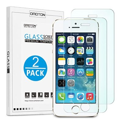 OMOTON-25D-Round-Edge-9H-Tempered-Glass-Anti-Scratch-Screen-Protector-for-iPhone-SE-5S-5C-5-Clear-2-Pack-0