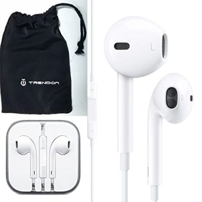 Apple-OEM-Earpods-with-Remote-and-Mic-with-TrendON-Headphone-cell-phone-pouch-case-Bulk-Packaging-12-months-warranty-White-0