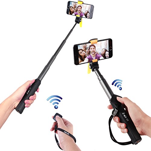Arrela-Hornbill-Bluetooth-Selfie-Stick-Portable-Self-portrait-Monopod-with-Separate-Bluetooth-Remote-Shutter-for-iPhone-6S6S-Plus66-Plus5S-Samsung-Galaxy-GoPro-PS-1S-Short-Pattern-0