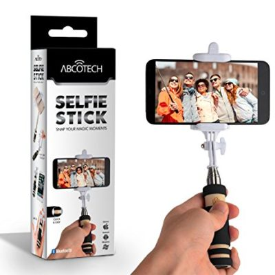 Bluetooth-Selfie-Stick-Self-portrait-Monopod-with-cell-phone-clamp-Extendable-Wireless-Stick-and-built-in-Bluetooth-Remote-Shutter-0