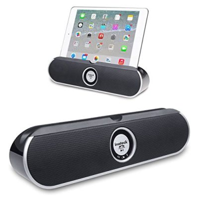 Inateck-Portable-Wireless-Bluetooth-Speaker-Desktop-with-35mm-Audio-Port-Dual-driver-Enhanced-Bass-Boost-Viewing-Cradle-for-iphone-ipad-and-other-phonestablets-or-laptopsBP2001-Black-0