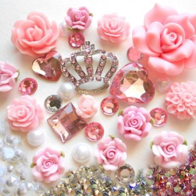 LOVEKITTY-DIY-3D-Pink-Rhinestones-Crown-Bling-Cell-Phone-Case-Resin-Flat-back-Kawaii-Cabochons-Deco-Kit-Set-0