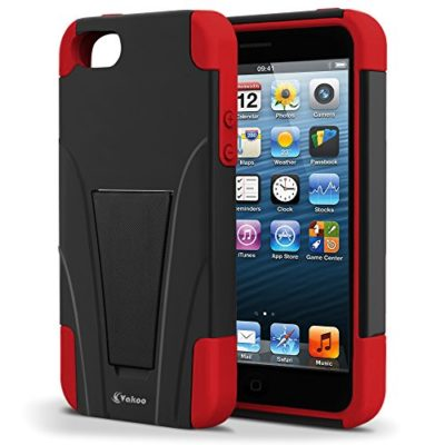 Vakoo-Shield-Series-Dual-Layer-Defender-Shockproof-Drop-Proof-High-Impact-Hybrid-Armor-Silicone-Rugged-Case-for-Apple-Iphone-5-5s-with-Kickstand-0