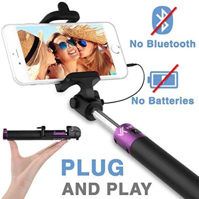 Voxkin--Ultra-Portable-Wired-Selfie-Stick--No-Bluetooth-Pairing-No-Battery-Charging--Premium-Sturdy-Design--Best-Pocket-Sized-Cable-Monopod-Compatible-with-iPhone-Android-All-SmartPhones-0