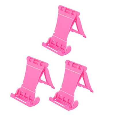 uxcell-Cell-Phone-MP4-Player-Desktop-Holder-Stand-Foldable-Bracket-3PCS-Pink-0