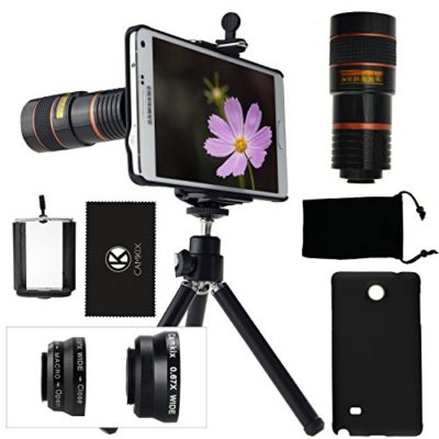 CamKix-Camera-Lens-Kit-for-Samsung-Galaxy-Note-4-including-8x-Telephoto-Lens-Fisheye-Lens-2-in-1-Macro-and-Wide-Angle-Lens-Tripod-Phone-Holder-Hard-Case-Velvet-Bag-Cleaning-Cloth-0