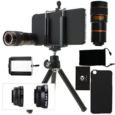 CamKix-Camera-Lens-Kit-for-iPhone-6-6S-including-8x-Telephoto-Lens-Fisheye-Lens-2-in-1-Macro-Lens-and-Wide-Angle-Lens-Tripod-Phone-Holder-Hard-Case-Velvet-Bag-Cleaning-Cloth-0