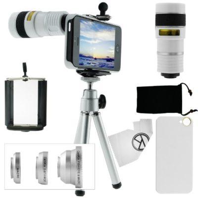 CamKix-Camera-Lens-Kit-for-iPhone-SE-5S-5-including-8x-Telephoto-Lens-Fisheye-Lens-Macro-Lens-Wide-Angle-Lens-Tripod-Phone-Holder-Hard-Case-Velvet-Bag-Microfiber-Cleaning-Cloth-0