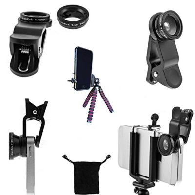 CamRah-iPhone-Camera-Lens-Kit-with-3-Universal-Lenses-Fisheye-Wide-Angle-and-Macro-2-Lens-Clips-Octopus-Tripod-storage-bag-and-photo-tips-0