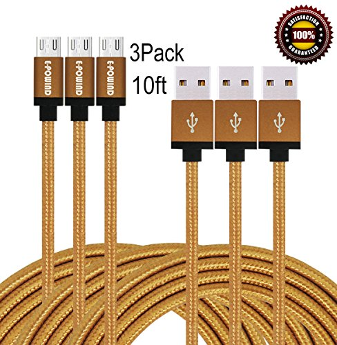 E-POWIND-3Pack-10ft-Premium-Micro-USB-Cable-High-Speed-Extra-Long-USB-Charging-Cables-for-AndroidSamsungNexus-HTC-Motorola-NokiaHUAWEIand-MoreRed-0