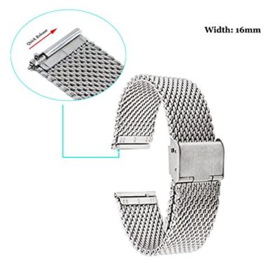 Fitian-16mm-Mesh-Stainless-Steel-Metal-Watch-Band-Wristband-Strap-Watchband-for-Moto-360-2nd-Generation-Woman-42mm-Smart-Watch-and-Other-Watches-with-16mm-Band-Width-0