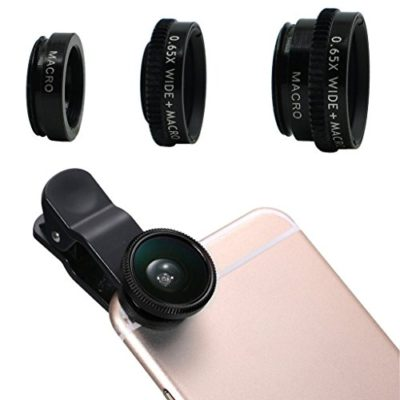 Ninewell-3-in-1-Camera-Lens-Kit-Clip-On-180-Degree-Supreme-Fisheye-065X-Wide-Angle-10X-Macro-Lens-for-For-iPhone-6S-5S-4S-Samsung-Galaxy-HTC-Android-and-All-Other-Smartphones-0