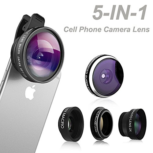 Phone-Camera-Lens-Comsun-5-in-1-Universal-Clip-on-Cell-Phone-Camera-Lens-Kit-235-Degree-Fisheye-04X-Wide-Angle-19X-Macro-2X-barlow-CPL-for-iphone-for-ipad-for-Samsung-Galaxy-Tablet-Smartphone-0