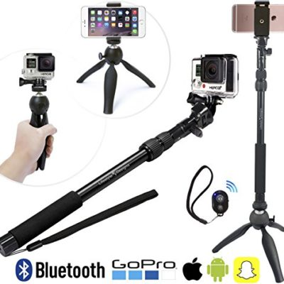 Premium-HD-Selfie-Stick-Tripod-3-in-1-Photo-Kit-for-New-GoPro-iPhone-6S-6-Plus-Android-or-Camera-Bluetooth-Shutter-w-Clip-Convenient-Carry-Bag-Included-Universal-Fit-Any-GoPro-Hero-SessionHero433-iPho-0
