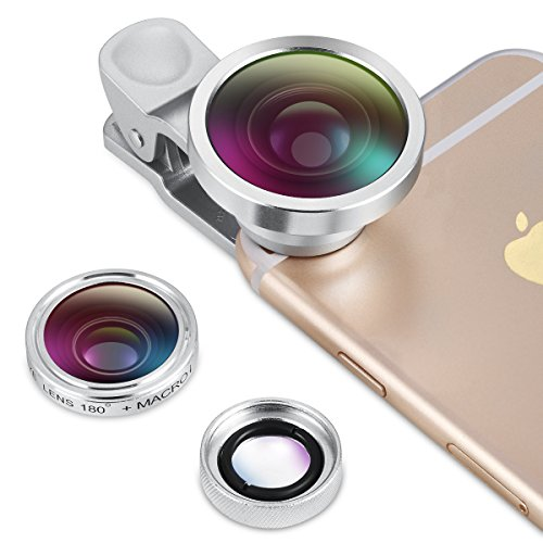 Silver-Version-Amir-3-in-1-HD-Clip-on-Cell-Phone-Camera-Lens-Kit-10x-Macro-Lens-04x-Wide-Angle-Lens-180-Fisheye-Lens-for-iPhone-6S6S-Plus5SSE-Samsung-Galaxy-Android-Most-Smartphones-0
