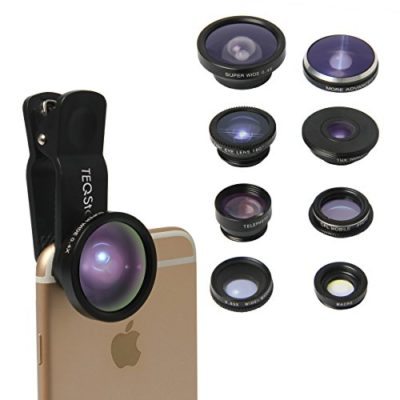 TEQSTONE-8-in-1-Clip-On-Cell-Phone-Camera-Lens-Kit-1-x-065X-Macro-Wide-Lens-Fisheye-Lens-180-Telephoto-Lens-2X-CPL-Lens-Super-Fisheye-Lens-235-19X-Macro-Lens-04X-Super-Wide-Angle-Lens-0