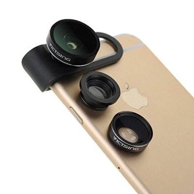 Upgraded-Fisheye-LensVicTsing-3-in-1-Clip-On-180-Degree-Supreme-Fisheye-II-065x-Wide-Angle-II-Macro-Lens-Camera-Photo-Kit-For-Apple-iPhone-Samsung-and-Android-Devices-Black-0