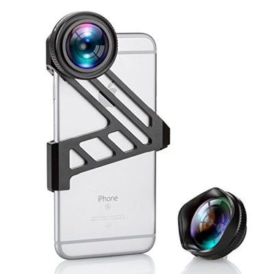 iPhone-Camera-Lens-Fuleadture-175-Degree-Wide-Angle-Lens-and-3X-HD-Telephoto-Clip-On-Cell-Phone-Camera-Lens-Kit-for-iPhone-6-6s-with-Universal-Clip-for-All-Smartphones-Black-0
