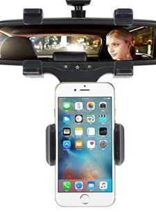 INCART-Car-Mount-Cell-Phone-Holder-360-Car-Rearview-Mirror-Mount-Truck-Auto-Bracket-Holder-Cradle-for-iPhone-766s-plus-Samsung-Galaxy-S7S7-edge-GPSPDAMP3MP4-devices-Black-0
