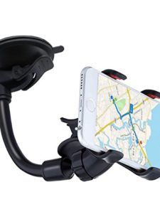 UPDATE-VERSION-YZtree-Double-Clip-360-Rotating-Flexible-Car-Mount-Cell-Phone-Holder-Stand-Car-Accessories-for-iPhone-7-7Plus-Samsung-LG-Nexus-HTC-Motorola-Sony-Other-Smartphones-Black-0