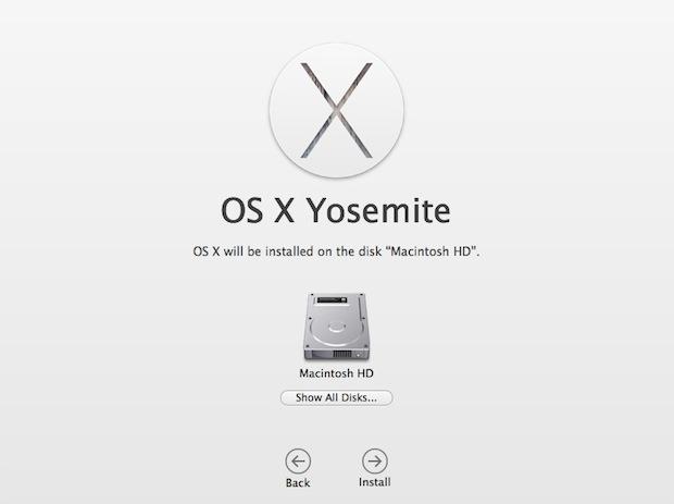 Comenzando la instalación limpia de Yosemite en una Mac