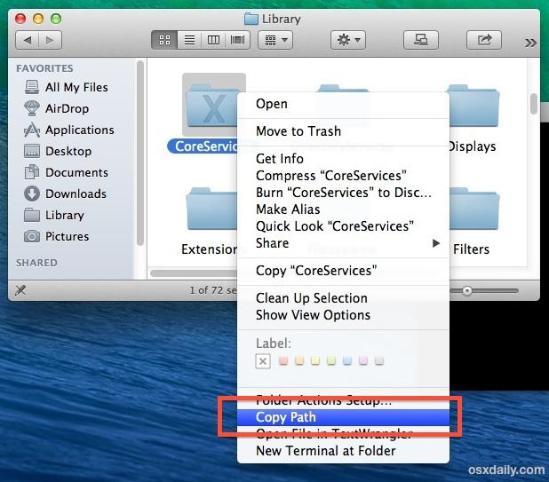 Copiar una ruta de archivo o carpeta a través de un servicio en Mac OS X