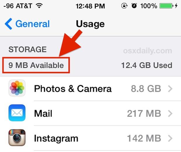 Uso de espacio de almacenamiento de iOS disponible bajo