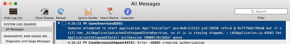 Registro de la consola de atascado verificando la actualización de Mac