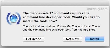Confirmar la instalación de las herramientas de línea de comandos en Mac OS X