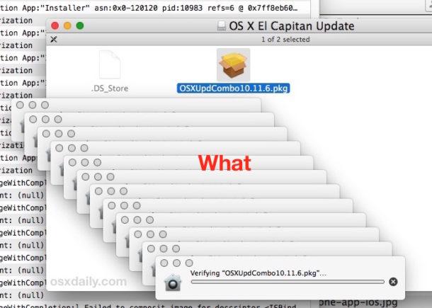 Paquete de actualización de Mac bloqueado verificando