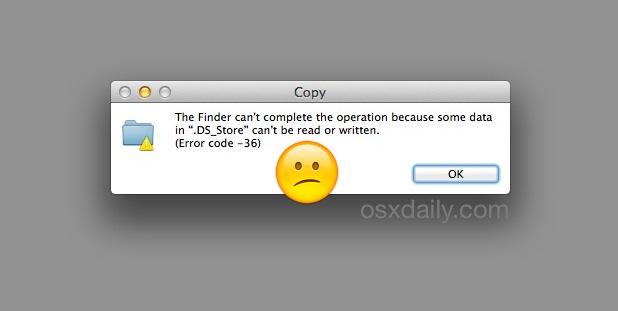 Código de error 36 en Mac Finder resuelto con la herramienta dot_clean de OS X