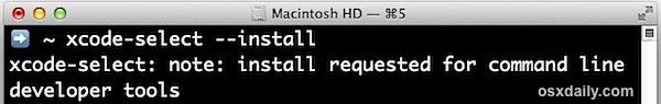 Instalar herramientas de línea de comandos a través de la terminal en Mac OS X