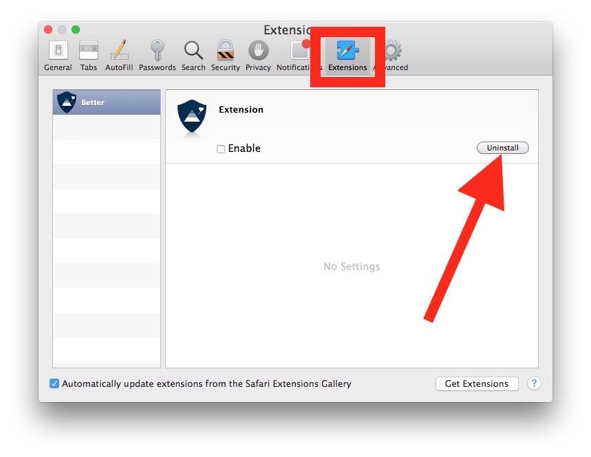 Desinstalar las extensiones de Safari en Mac