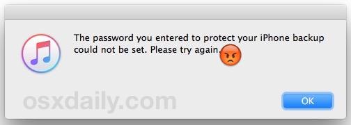 No se puede configurar la contraseña ingresada para proteger la copia de seguridad del iPhone, inténtelo de nuevo con el mensaje de error en iTunes
