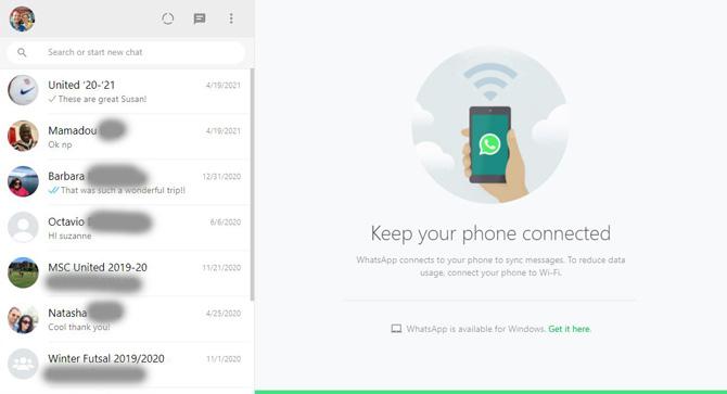 Lista de chats y mensajes de WhatsApp Web para mantener su teléfono conectado para recibir mensajes.