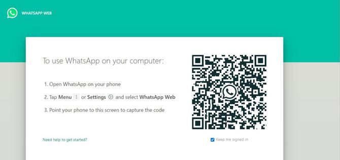 Captura de pantalla de WhatsApp Web que muestra el código QR para emparejar con un teléfono inteligente