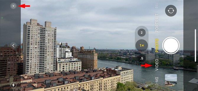 Aplicación de cámara para iPhone con opciones de Live Photo y Photos mostradas