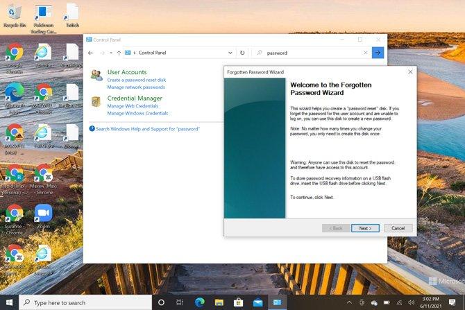 Captura de pantalla del panel de control de Windows 10 con la ventana emergente Bienvenido al Asistente para contraseña olvidada.
