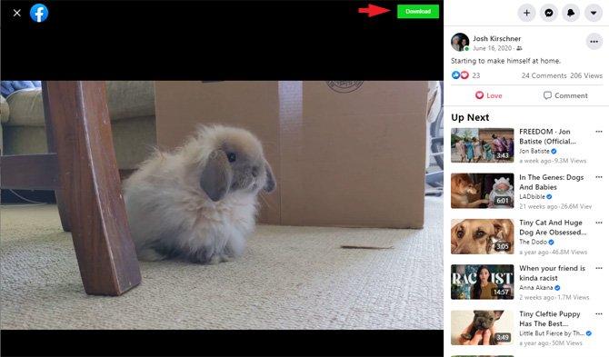 Captura de pantalla de la publicación de video de Facebook con el botón Descargar señalado.