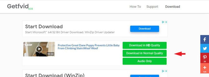 imagen en miniatura del video y, a la derecha, las opciones para Descargar en calidad HD, Descargar en calidad normal y Solo audio.